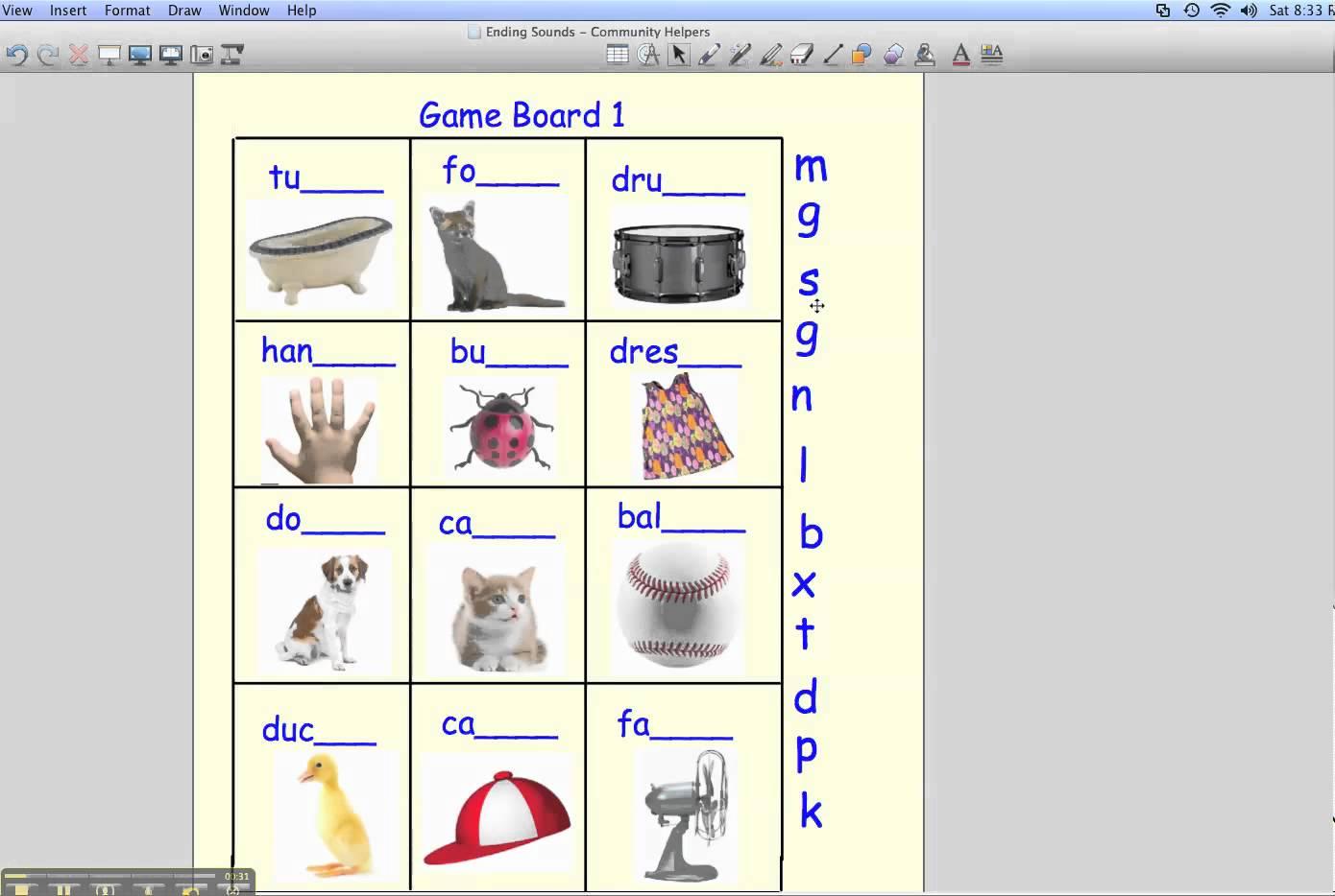 Ending Sound Worksheets Kindergarten