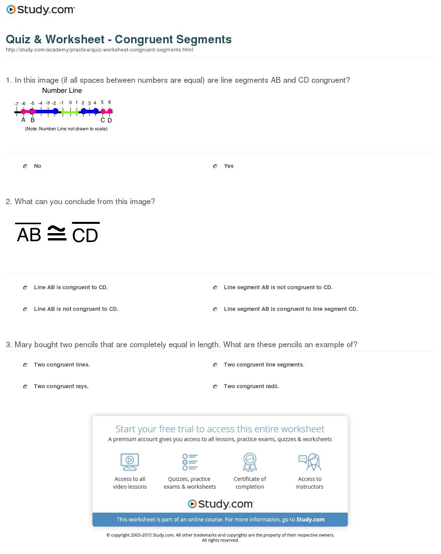 Congruent Lines Worksheets