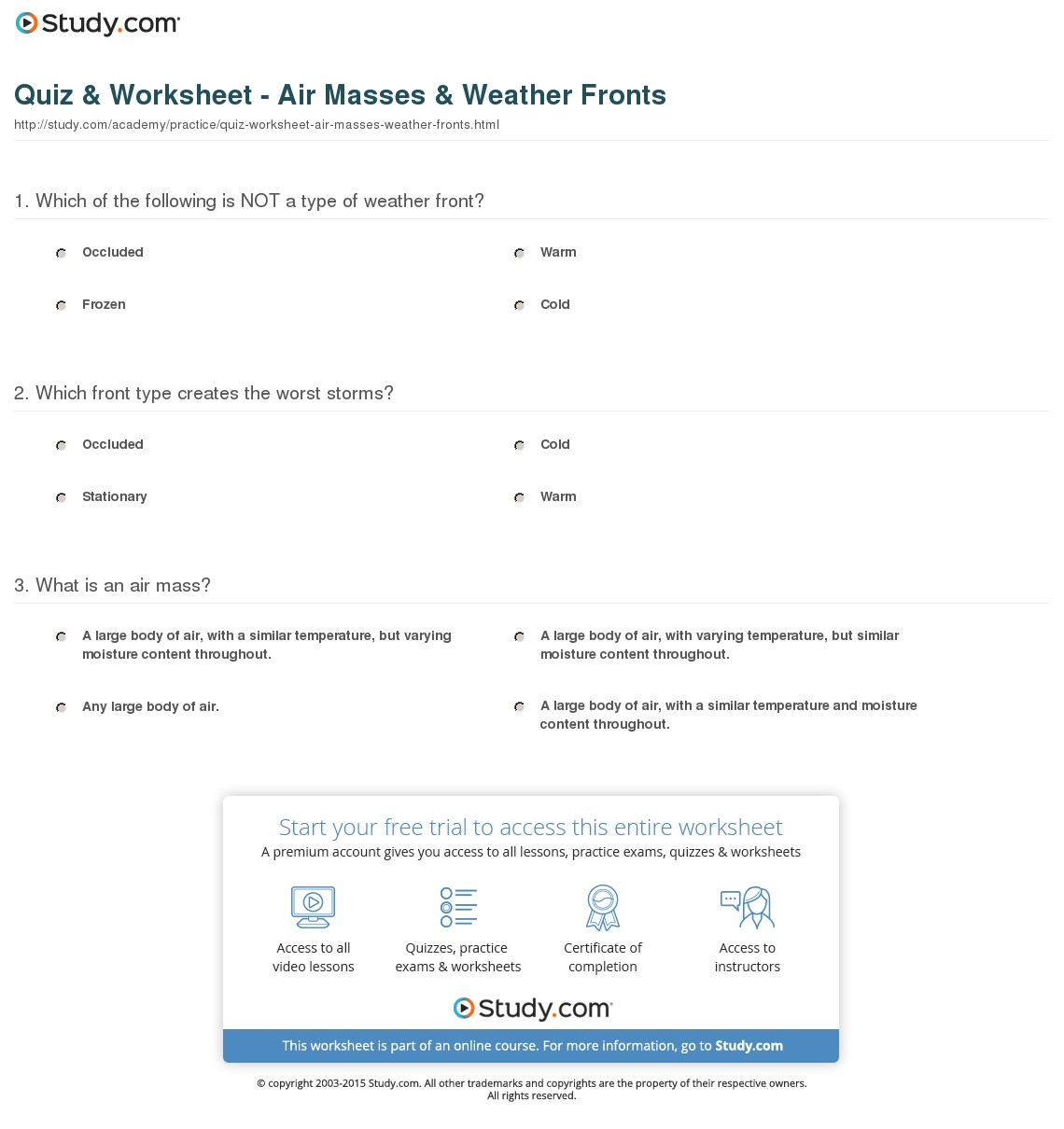 Types Of Air Masses Worksheets
