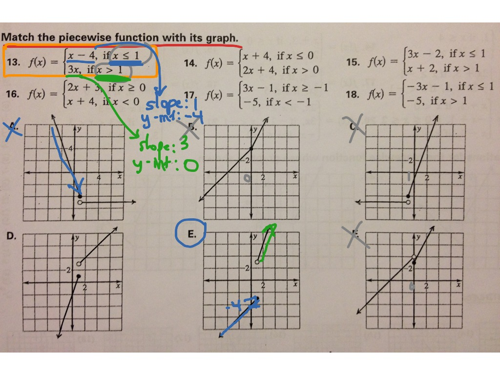 Worksheets Piecewise Functions Answer Key