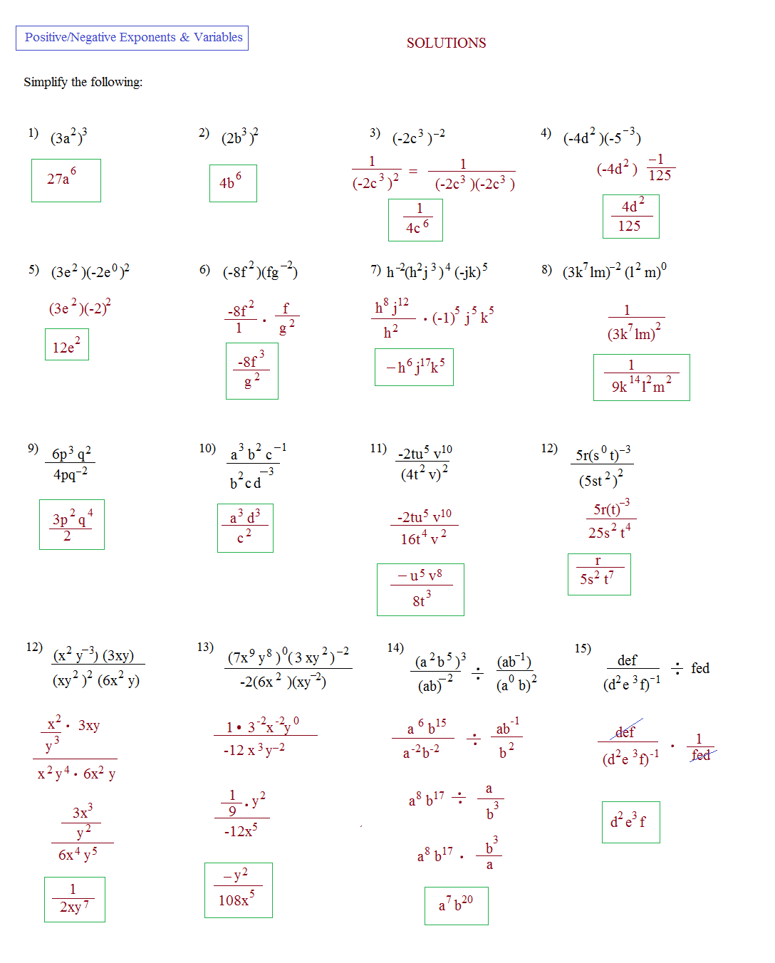 Solving Exponents Worksheets