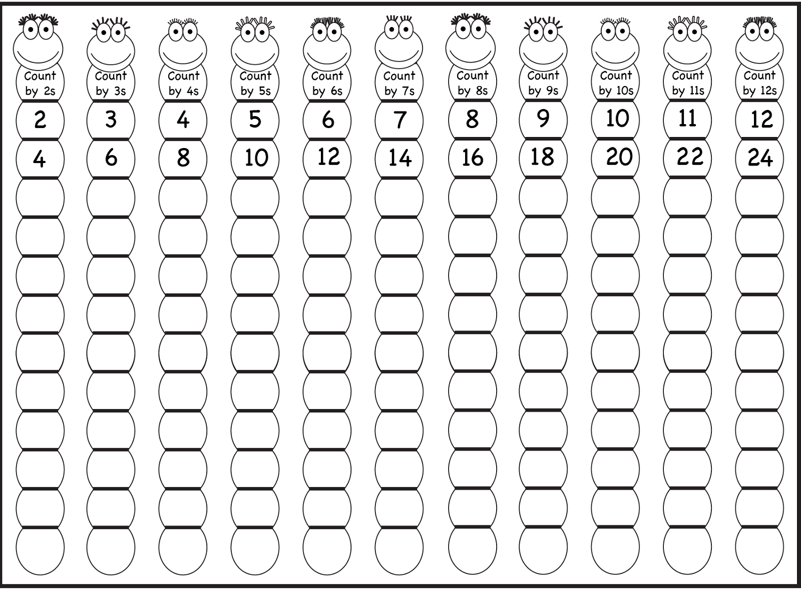Counting By 2's 5's And 10's Worksheets