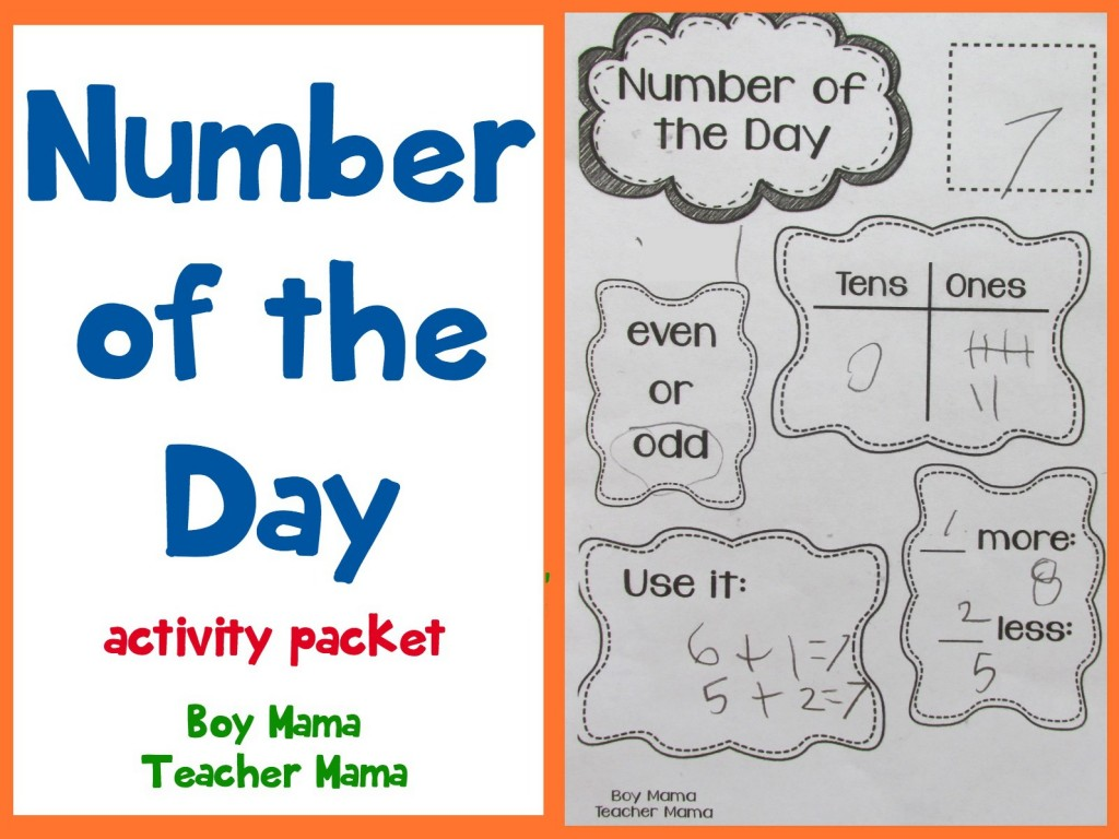 Number Of The Day Worksheets 1st Grade