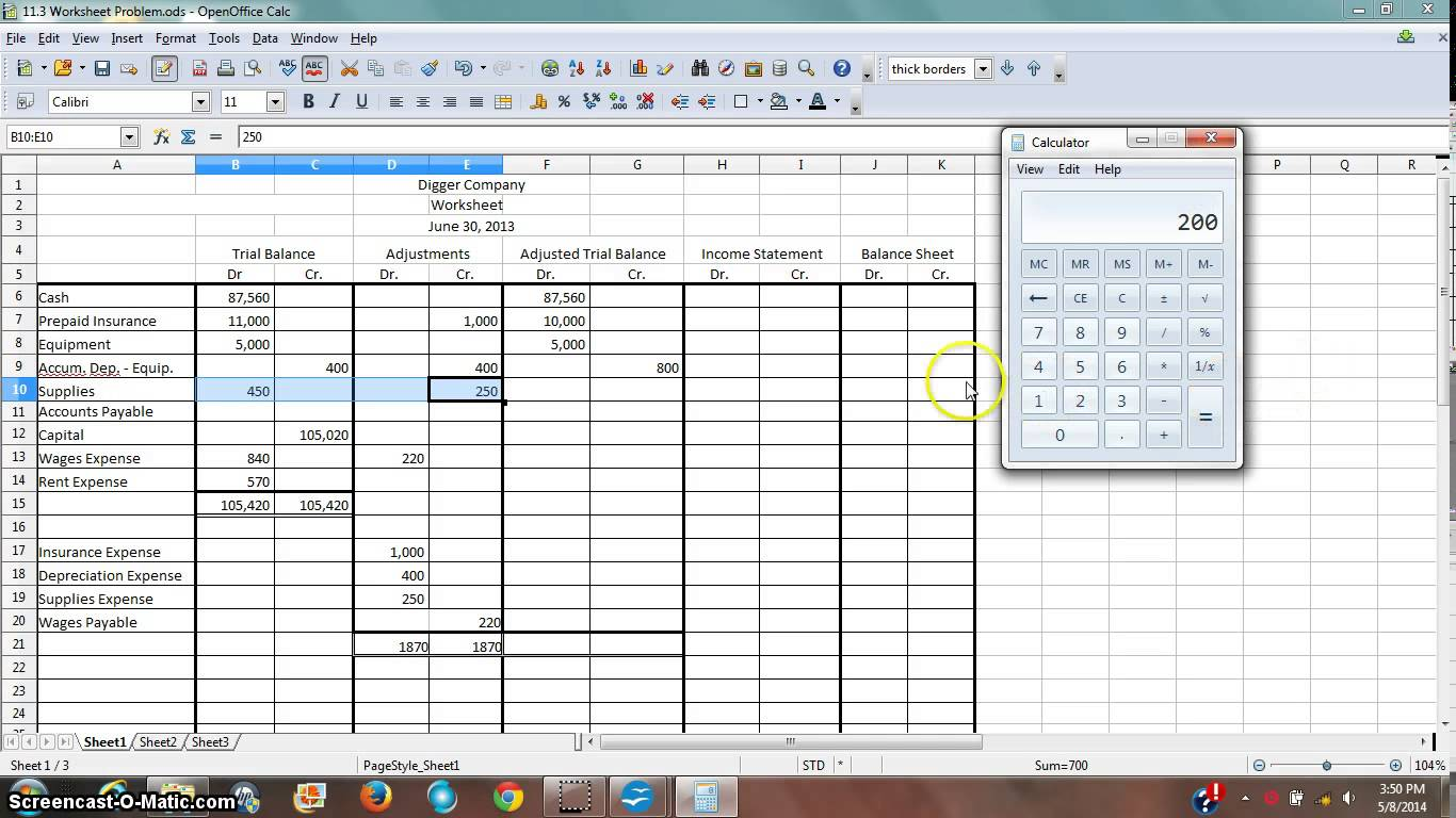 Trial Balance Worksheets
