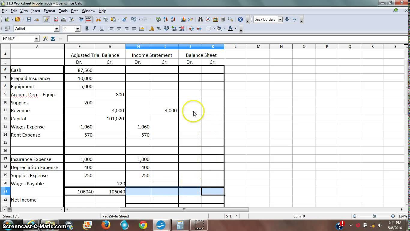 Worksheets Income Statement