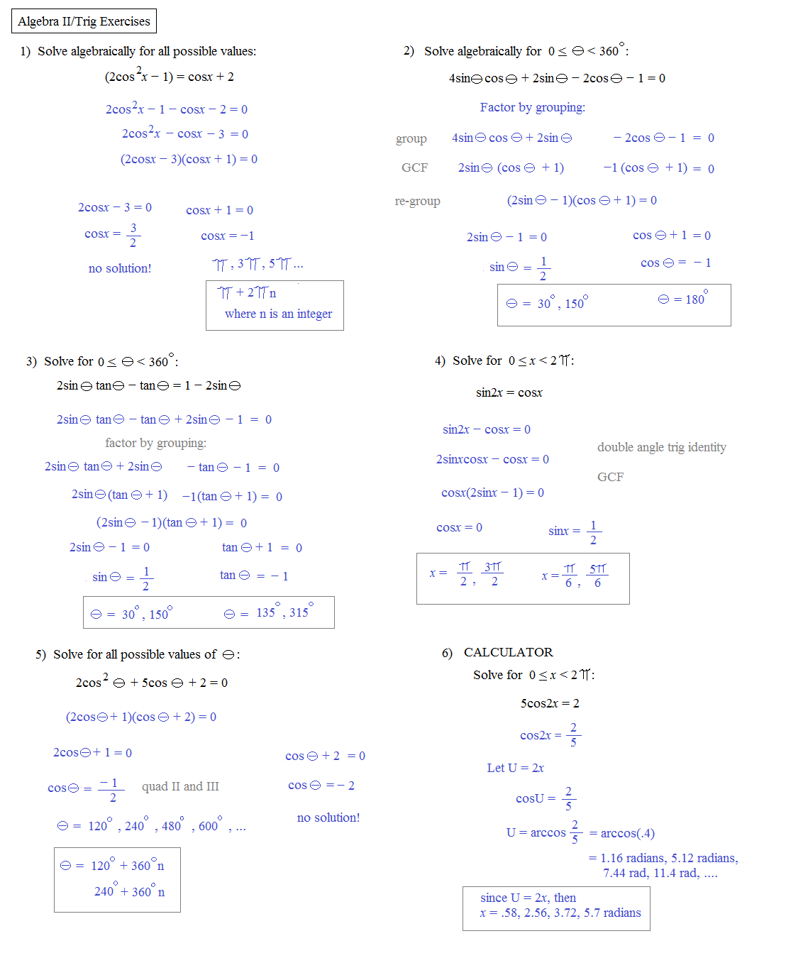 Advanced Algebra Worksheets