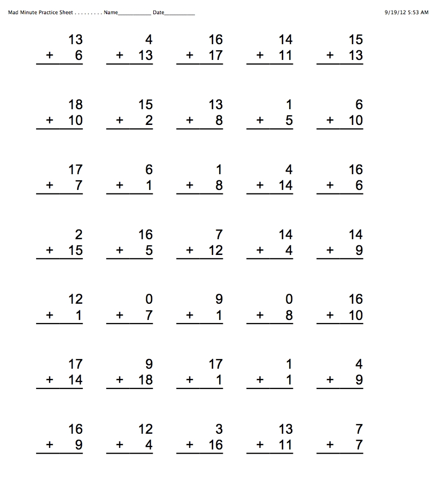 Division Mad Minute Worksheets