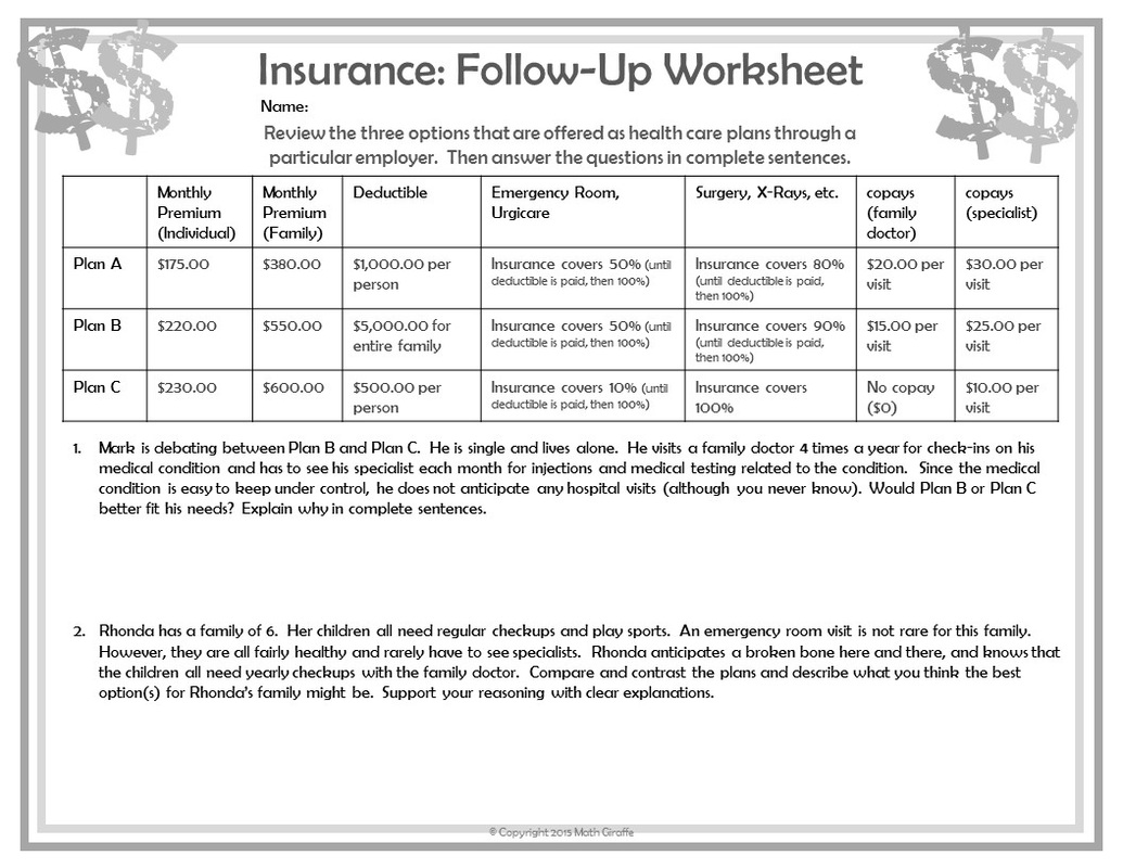 Consumer Math Worksheets