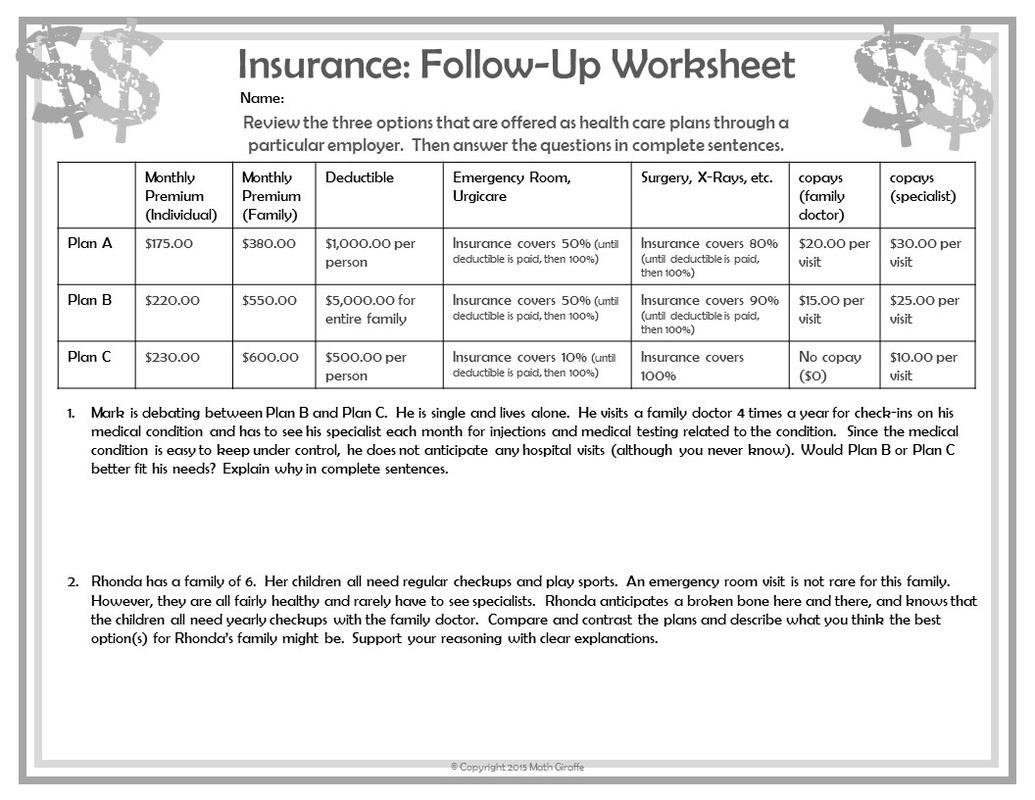 Consumer Math Worksheets