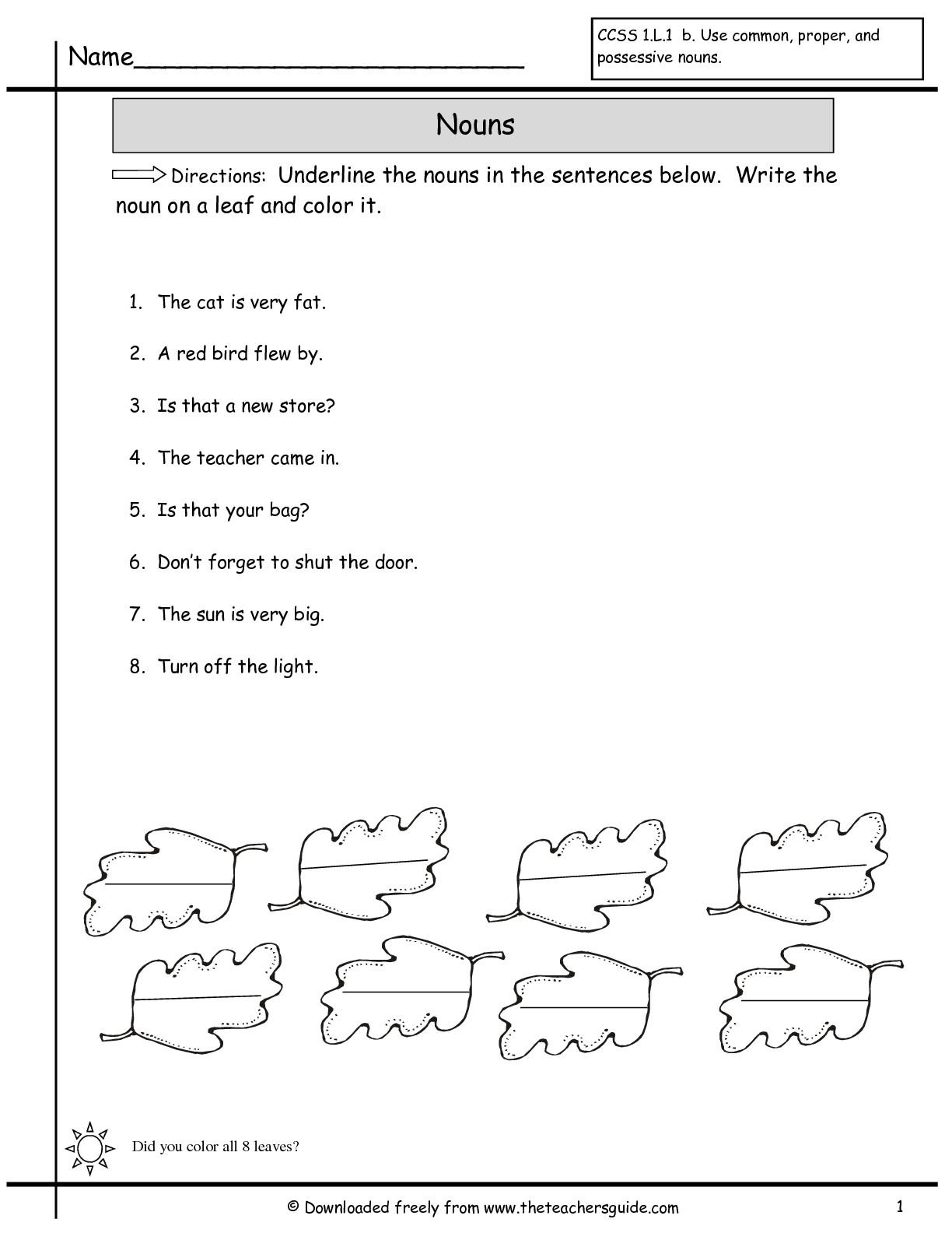 First Grade Noun Worksheets