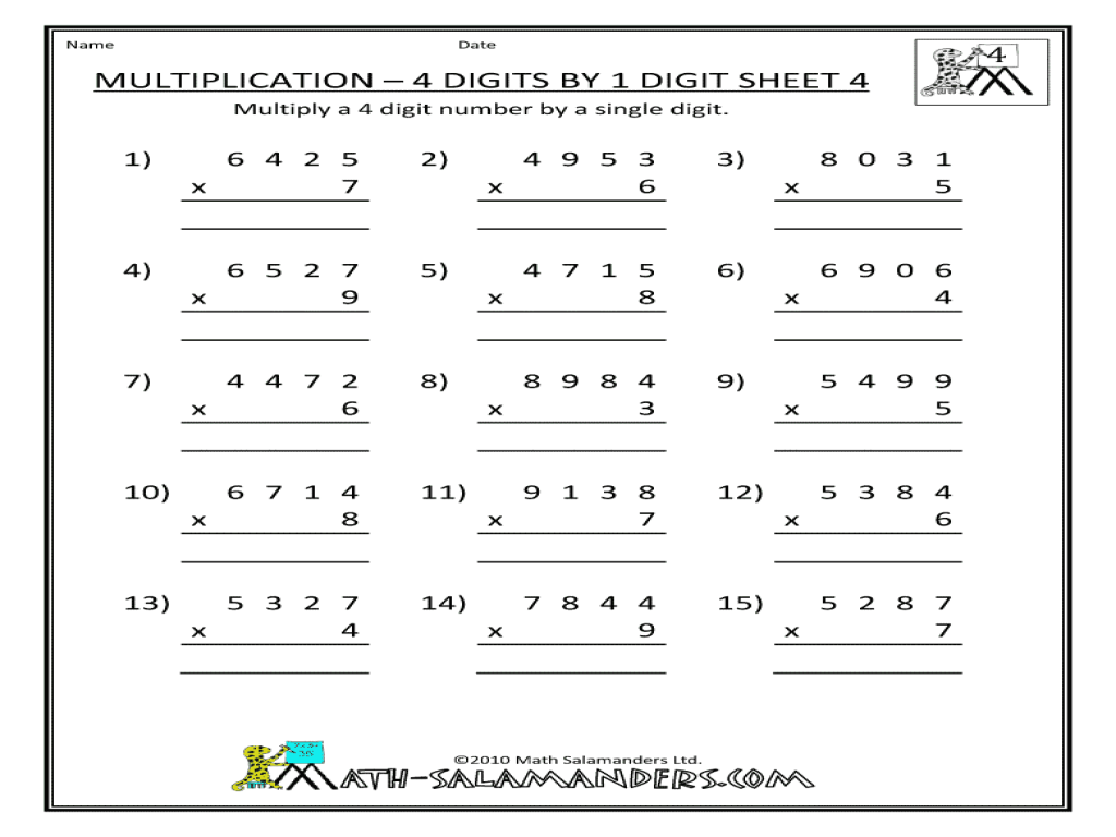 3 And 4 Digit By 1 Digit Multiplication Worksheets For All