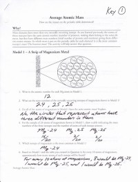 Calculating Atomic Mass Worksheets Answers