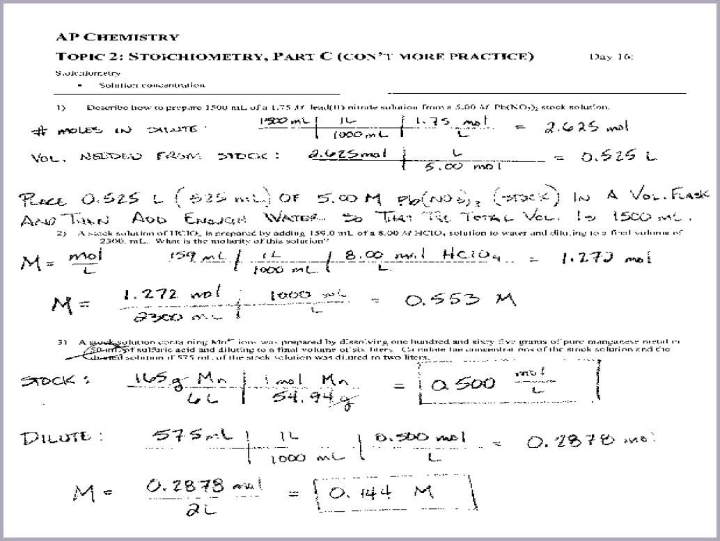 Chemistry Stoichiometry Worksheet Ap Chemistry Topic 2