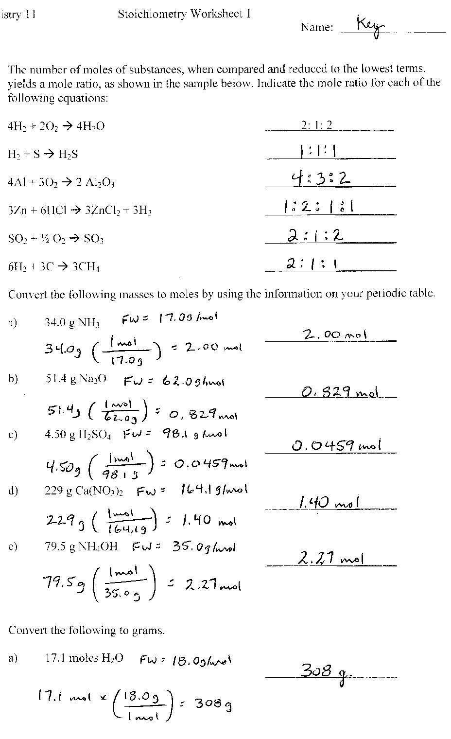Chemistry Worksheets With Answers