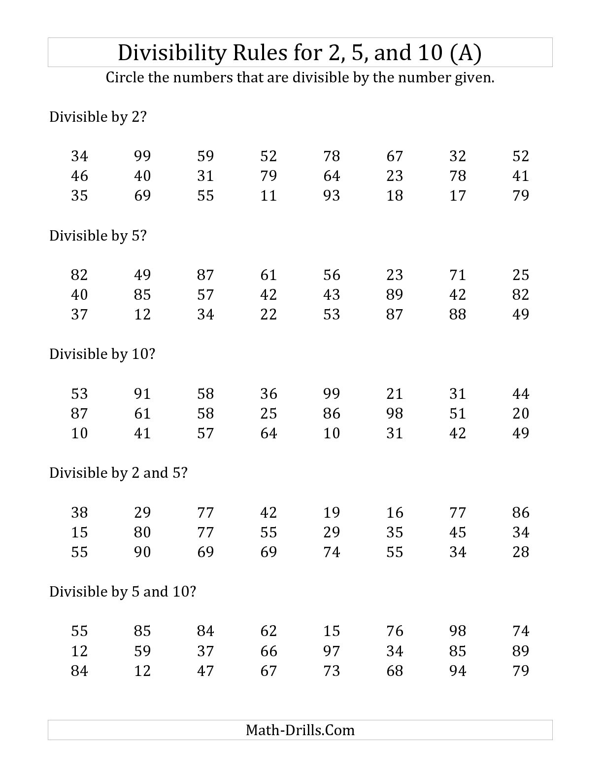 Divisibility Rules Worksheets Printable