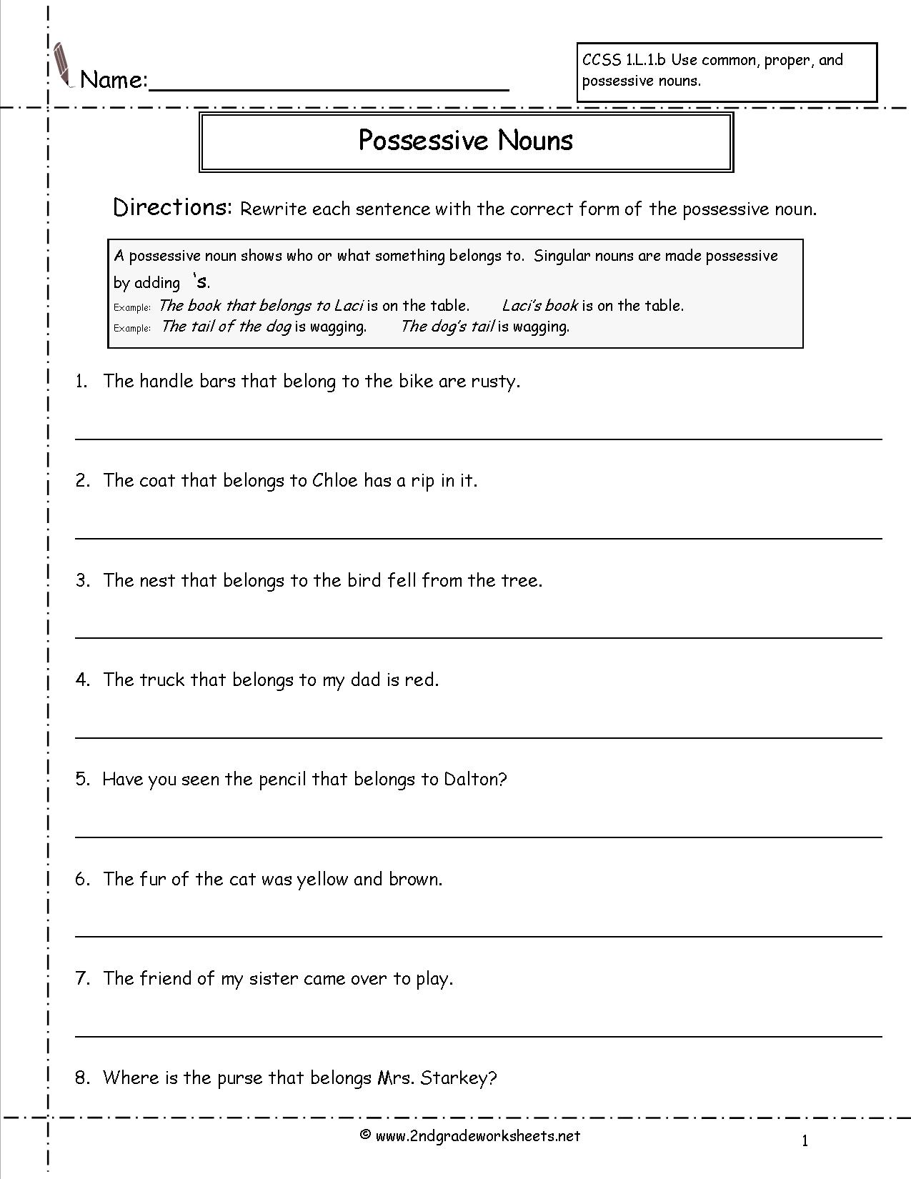 Possessive Worksheets For 2nd Grade