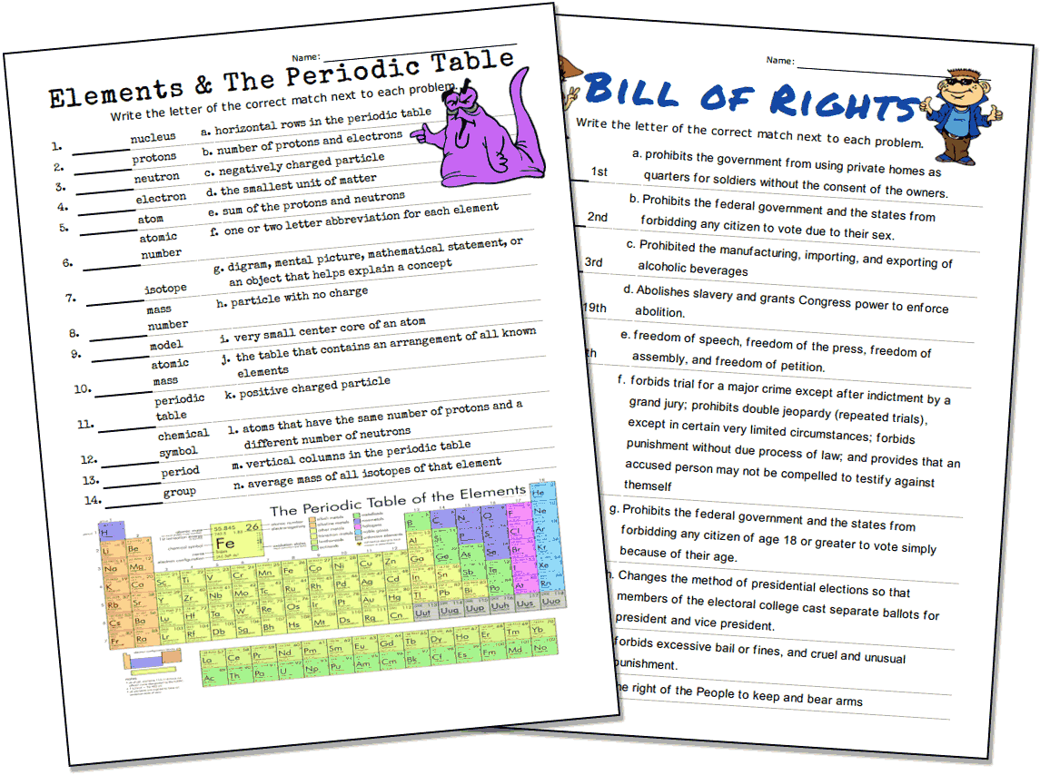 Match Up Worksheets