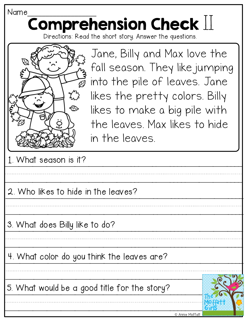 Comprehension Worksheets Year 1