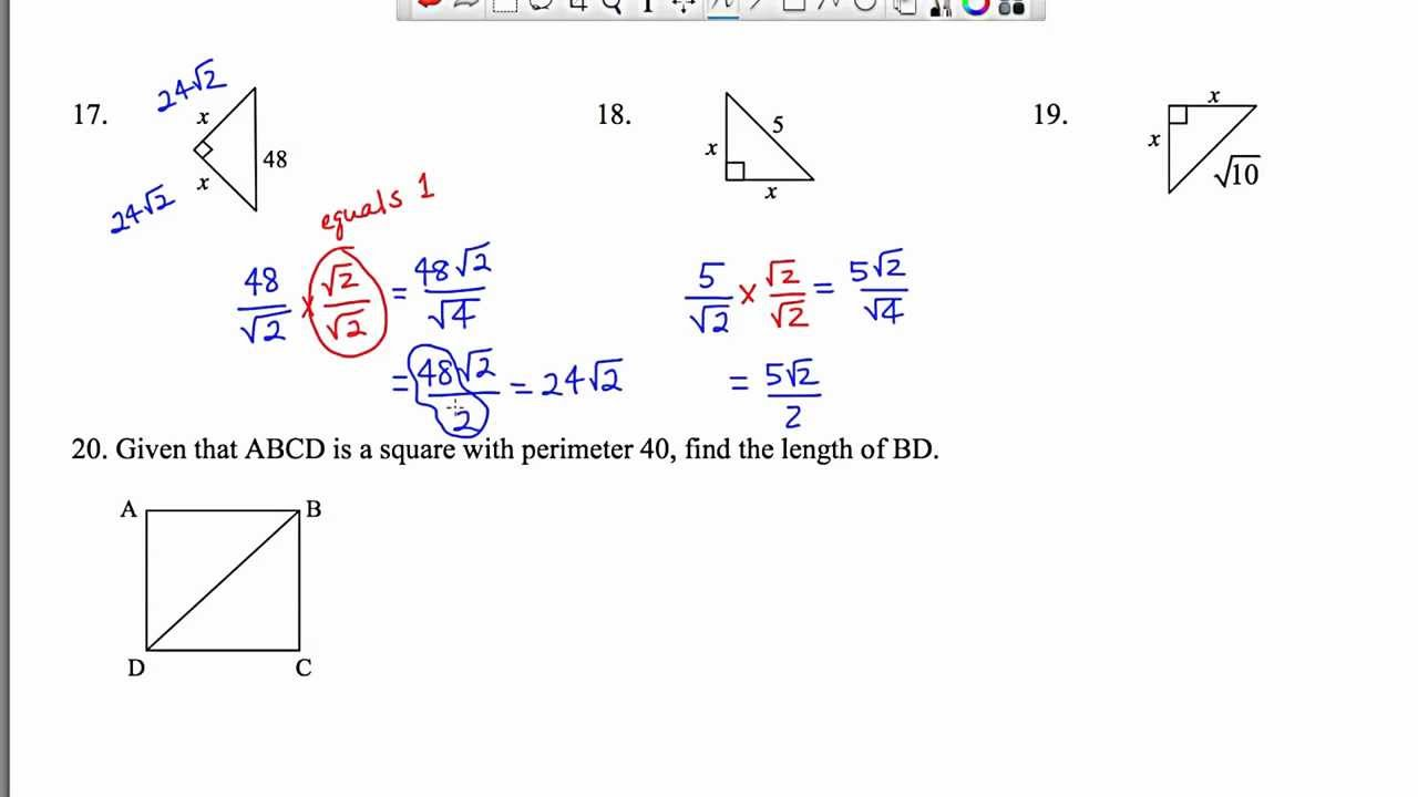 Special Right Triangles 45-45-90 Worksheets