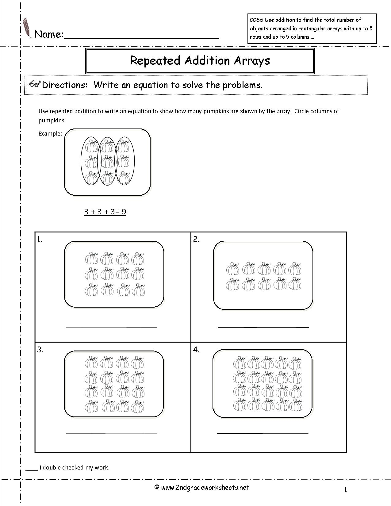 Addition Arrays Worksheets