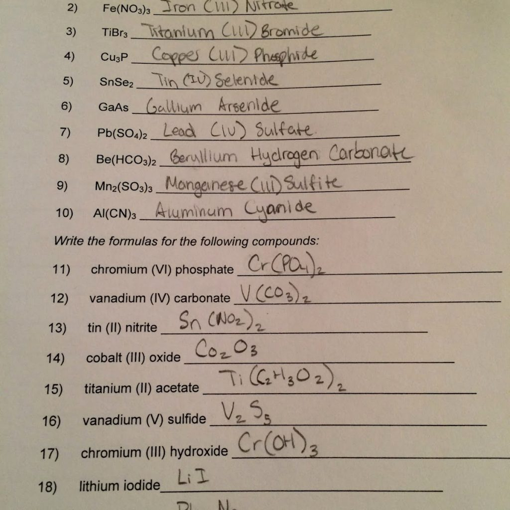Naming Ionic Compounds Worksheet Doc