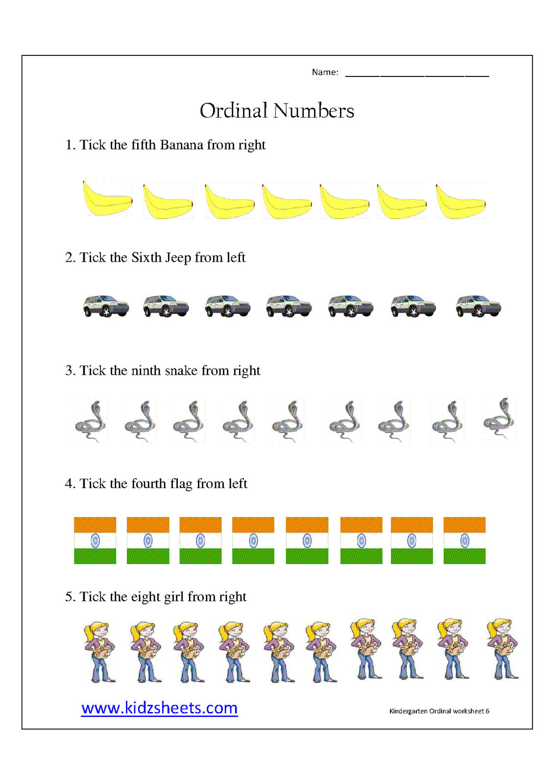 Ordinal Numbers Worksheets Grade 2