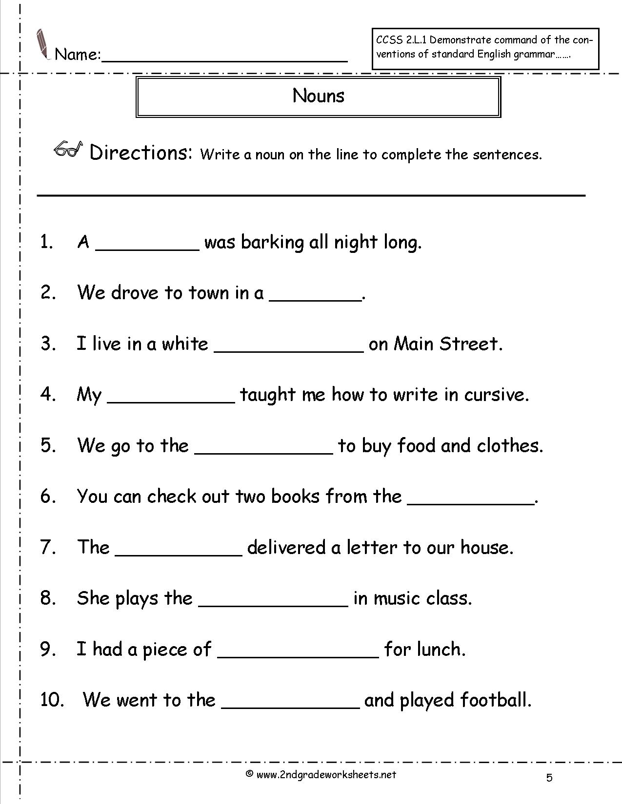 Nouns Worksheets 2nd Grade