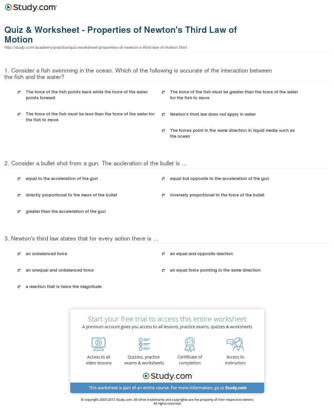 Newton S Third Law Worksheets Answers
