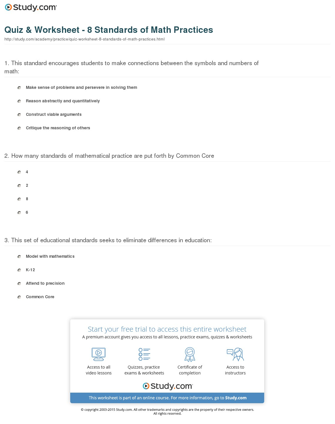 Mathematical Practices Worksheets