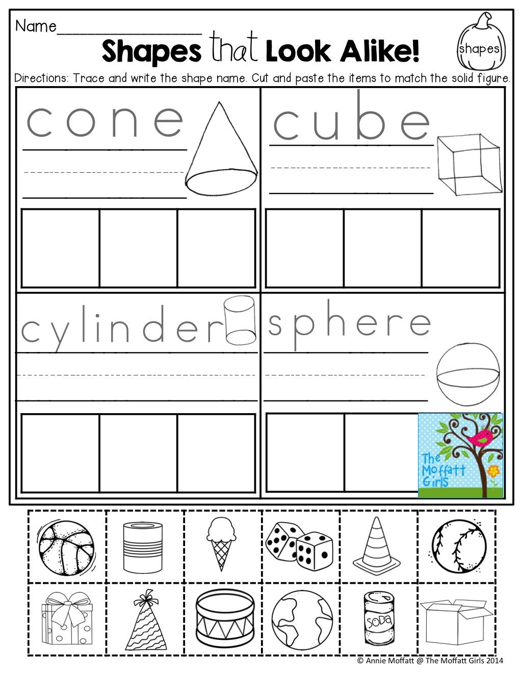 Solid Shapes Worksheets 1st Grade