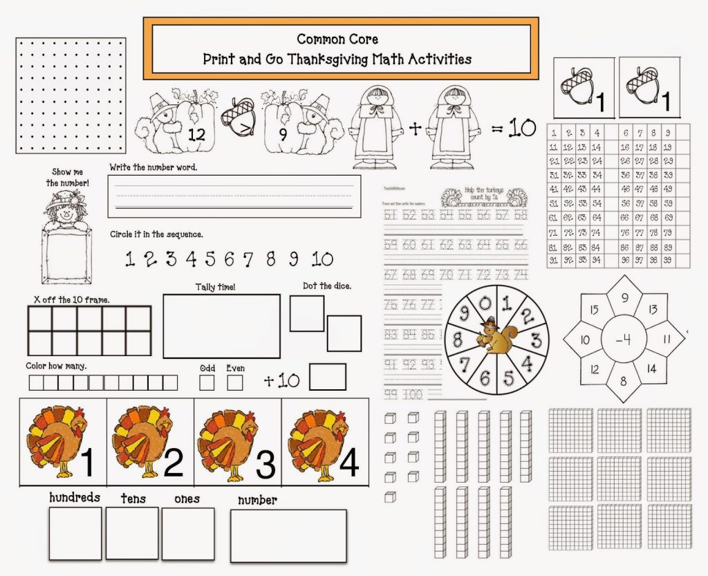 Thanksgiving Printable Math Worksheets 2nd Grade Common