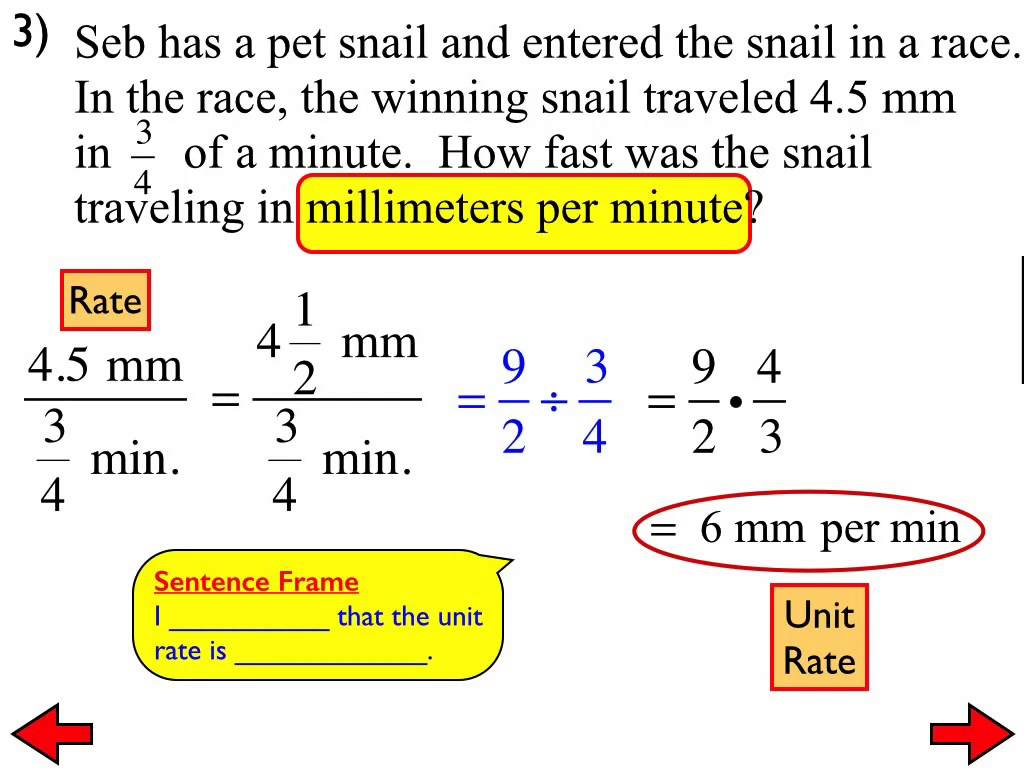 Unit Rate With Fractions Worksheets