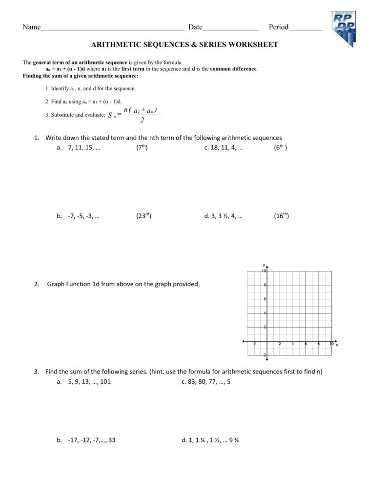 hight resolution of 31 Arithmetic Sequences And Series Worksheet Answers - Worksheet Resource  Plans