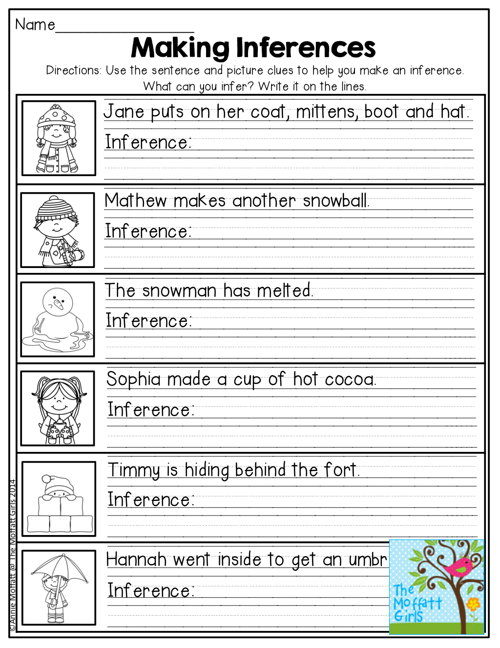 Inferencing Worksheets 4th Grade