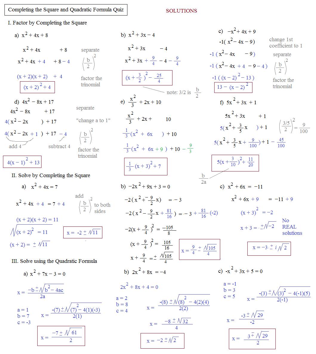 Quadratic Formula Practice Worksheets