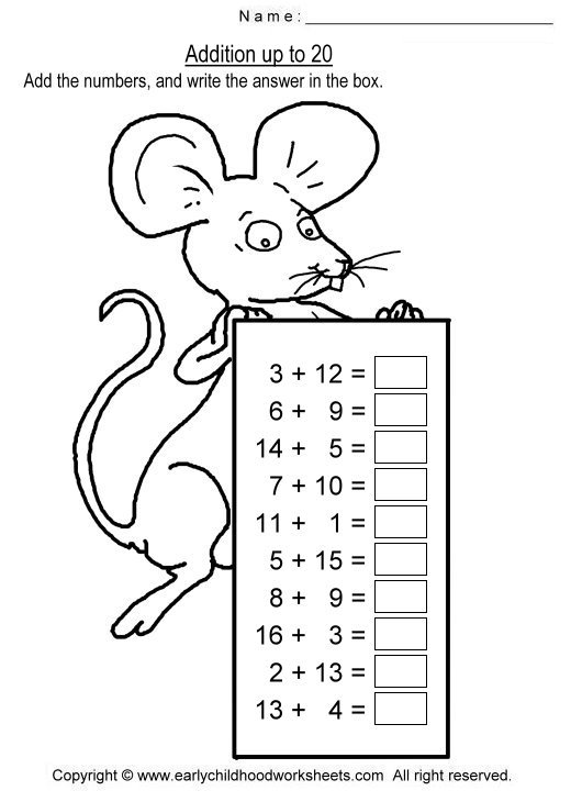 Addition To 20 Worksheets Free