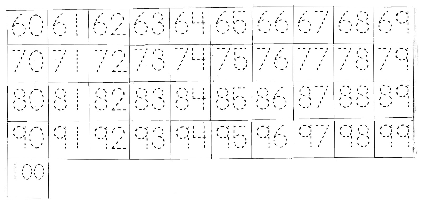 Trace Numbers 1 100 Worksheets