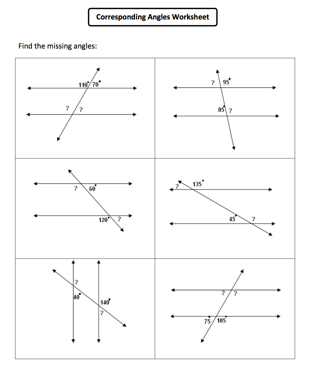 Parallel Lines Angle Relationships Worksheets