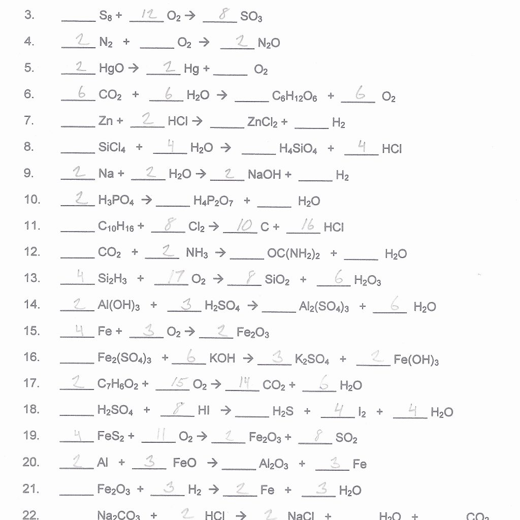 Balancing Equations Worksheet Chemfiesta Answers