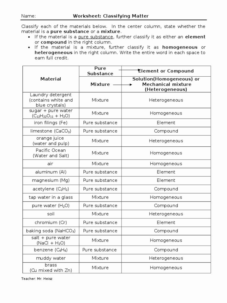 hight resolution of Classification Of Matter Worksheet Answer Key - Promotiontablecovers