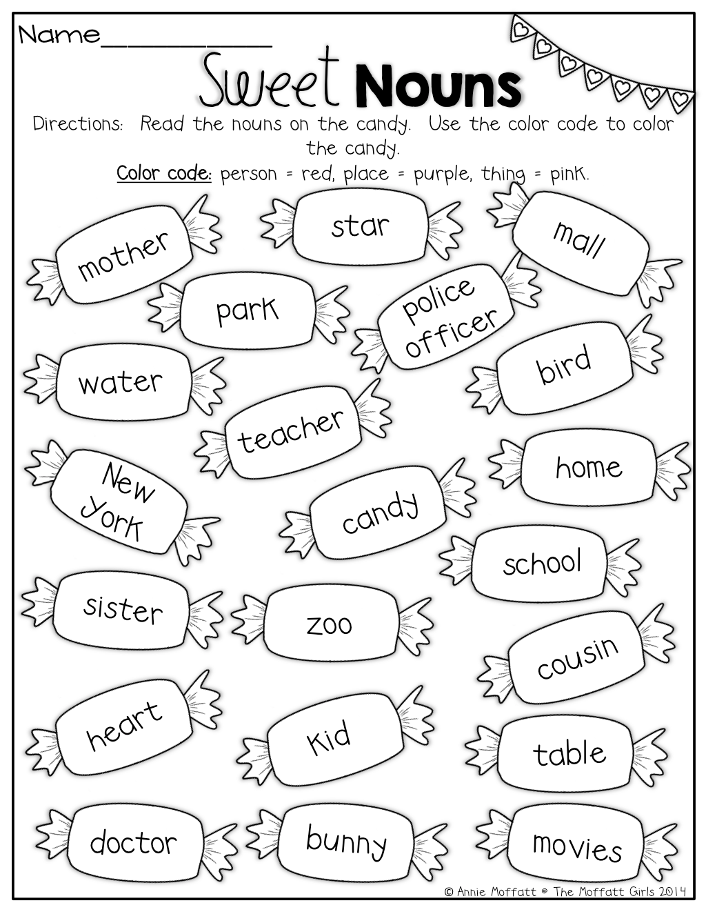 Noun Coloring Worksheets
