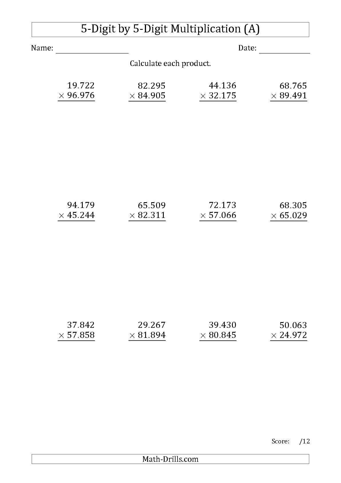 5 Digit Multiplication Worksheets