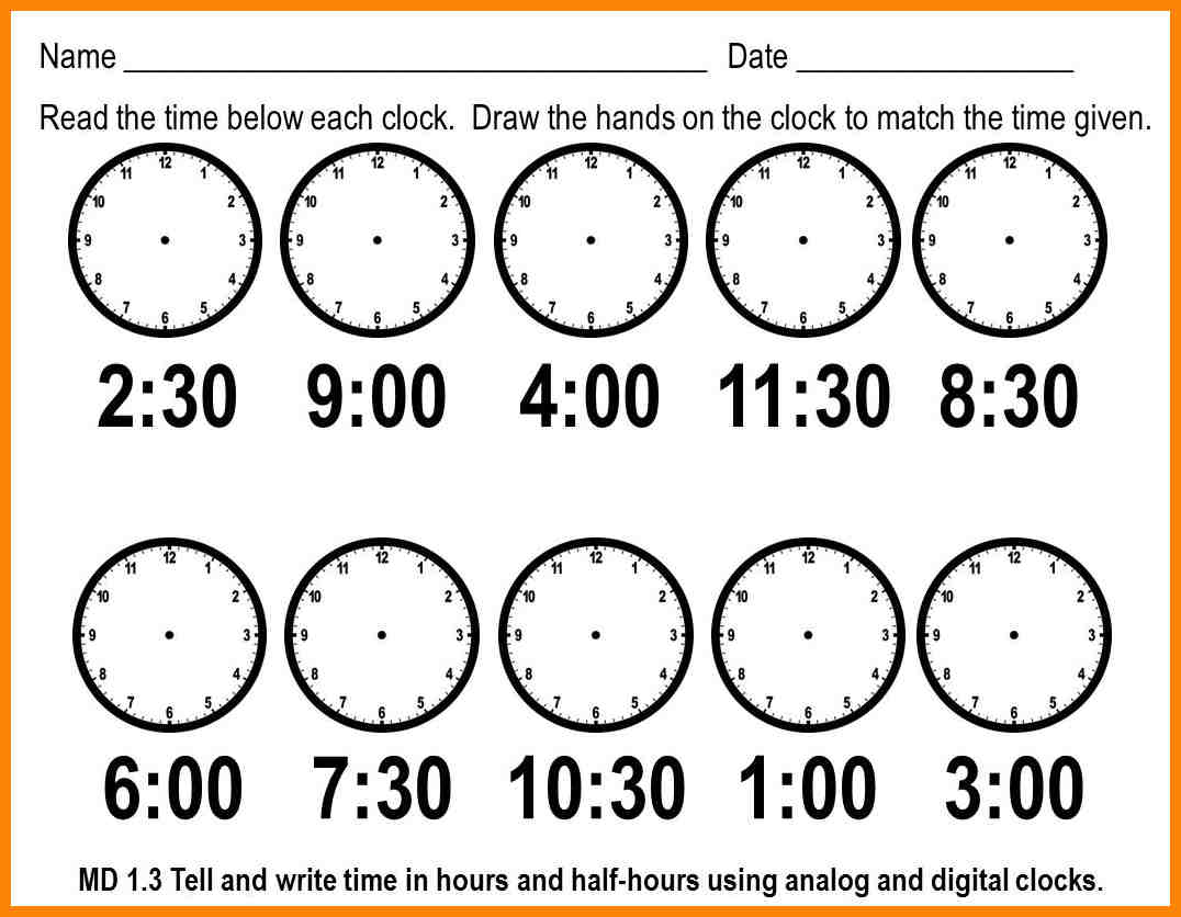Time Worksheets Kindergarten