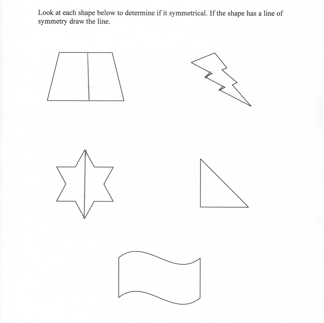 Symmetrical And Non Symmetrical Shapes Worksheets