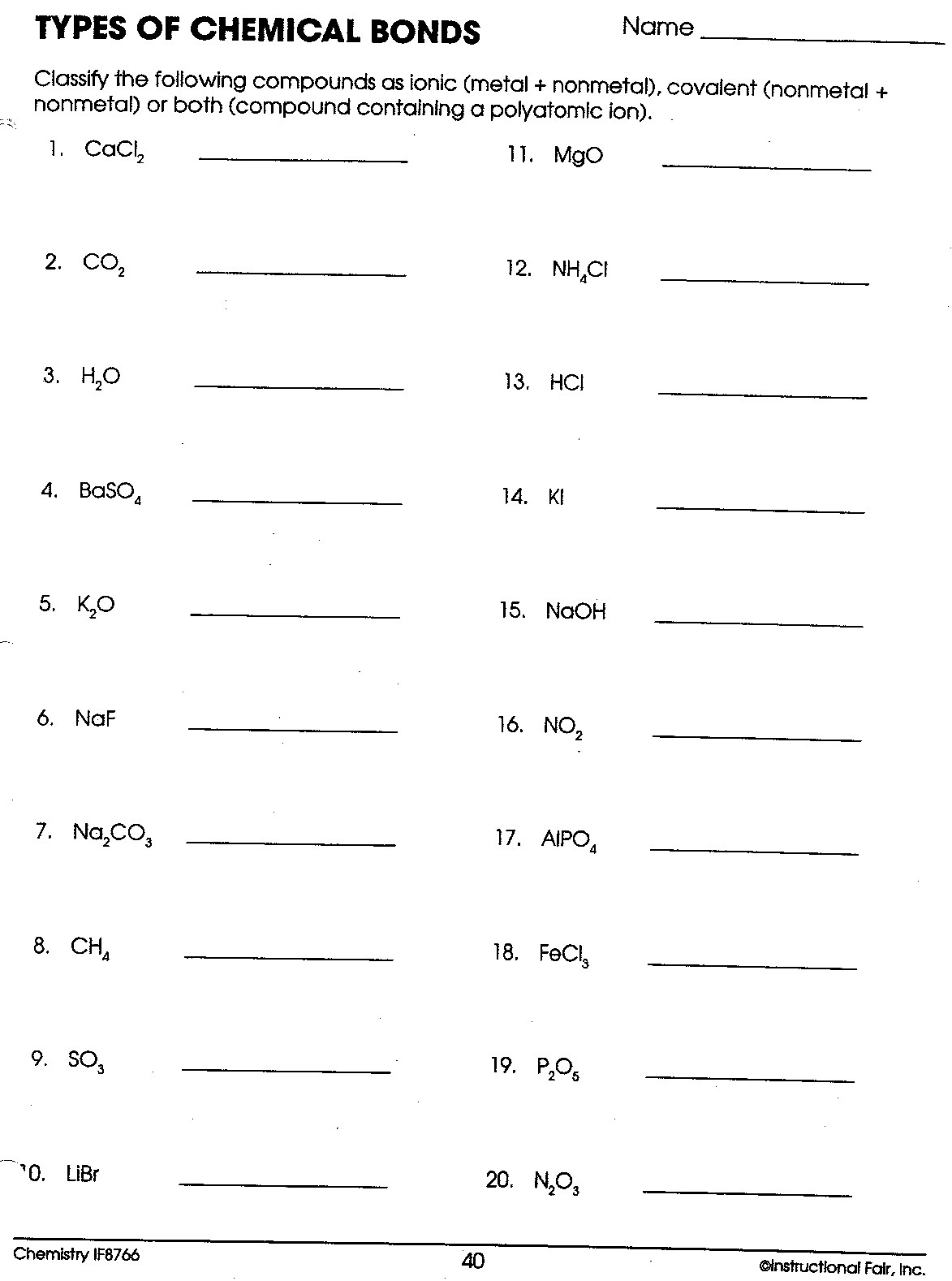 Ionic And Covalent Bond Practice Worksheets Answers