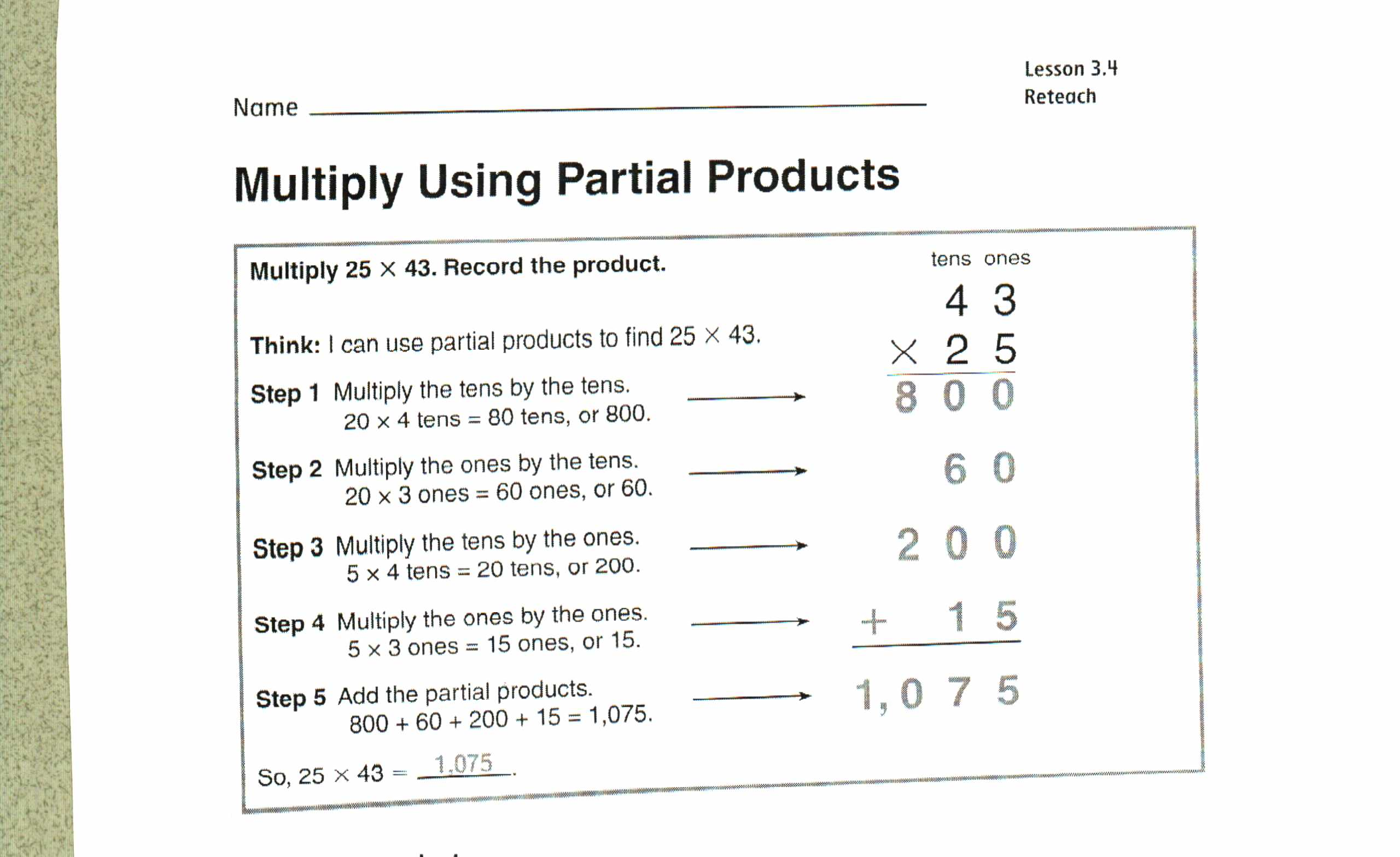 Area Model Multiplication Worksheets Grade 4