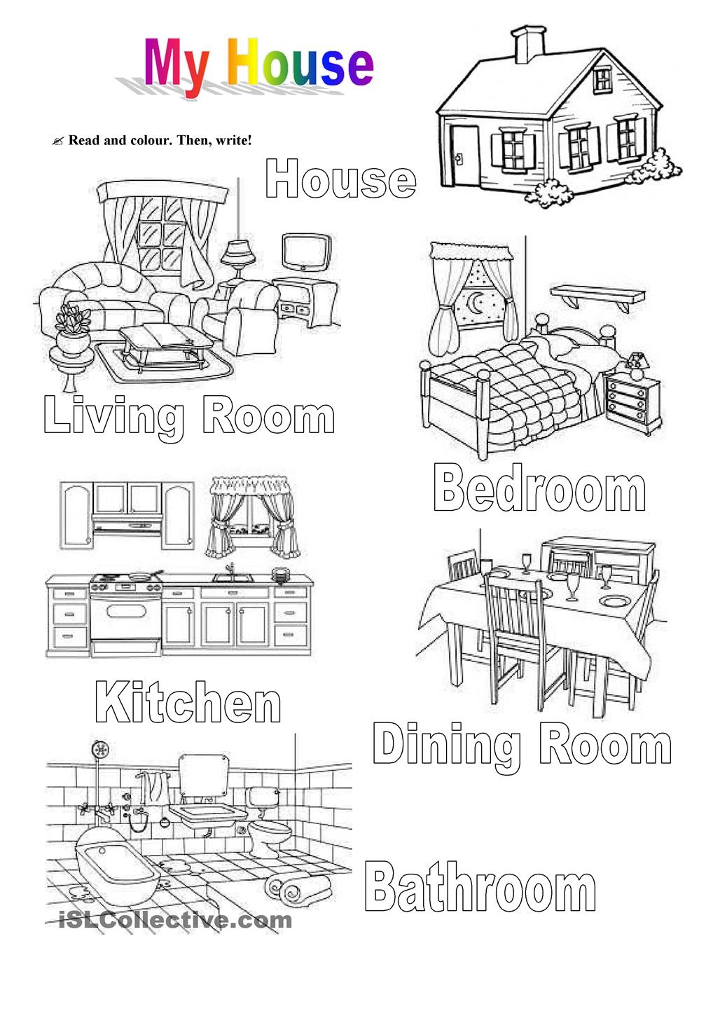 My House Worksheets For Kids