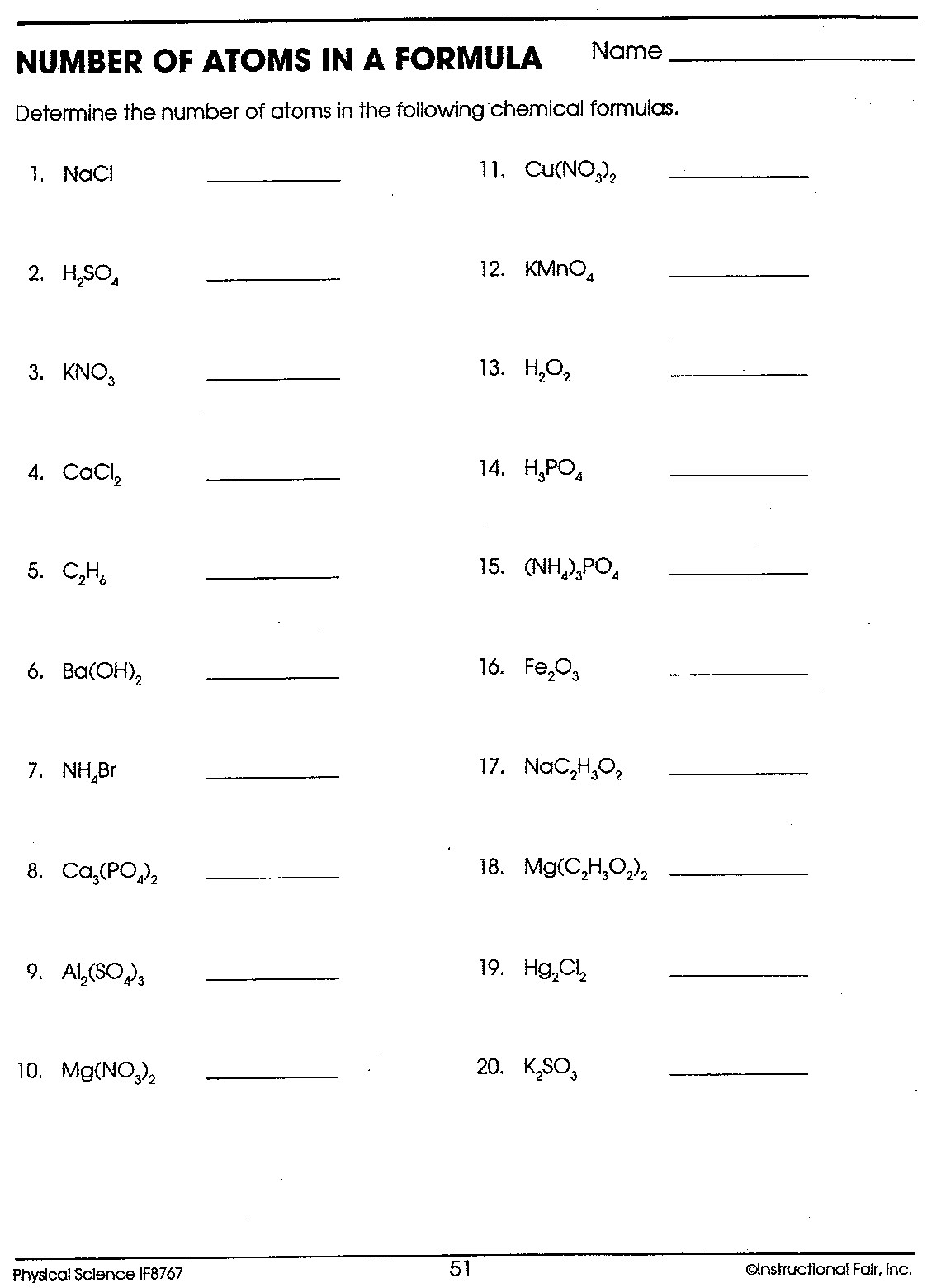 Ions Worksheets Chemistry