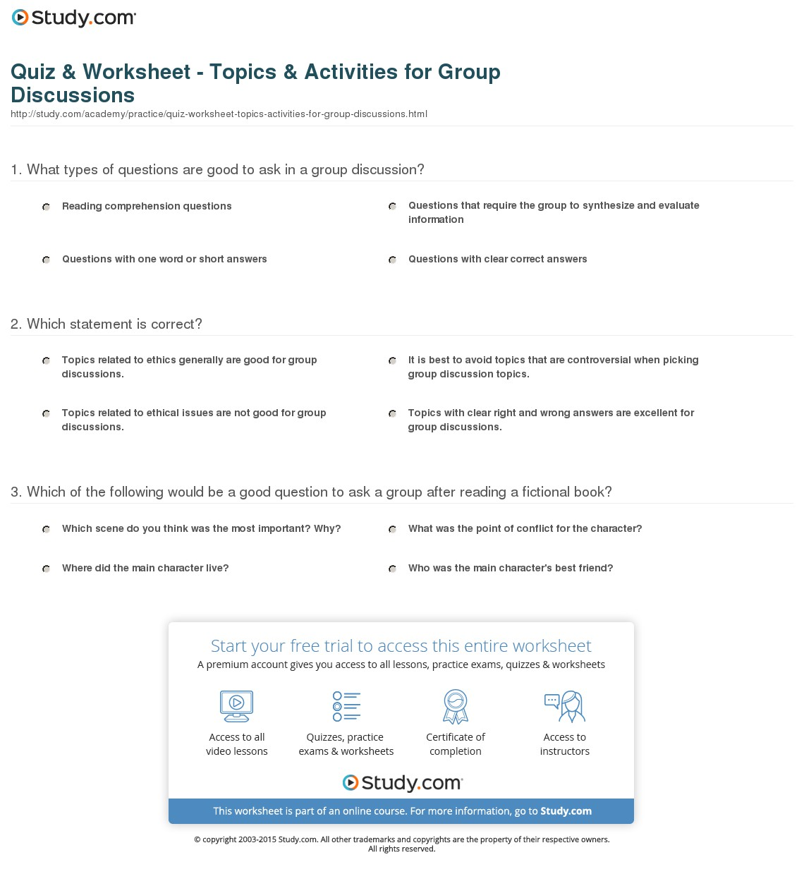 Discussion Director Worksheets