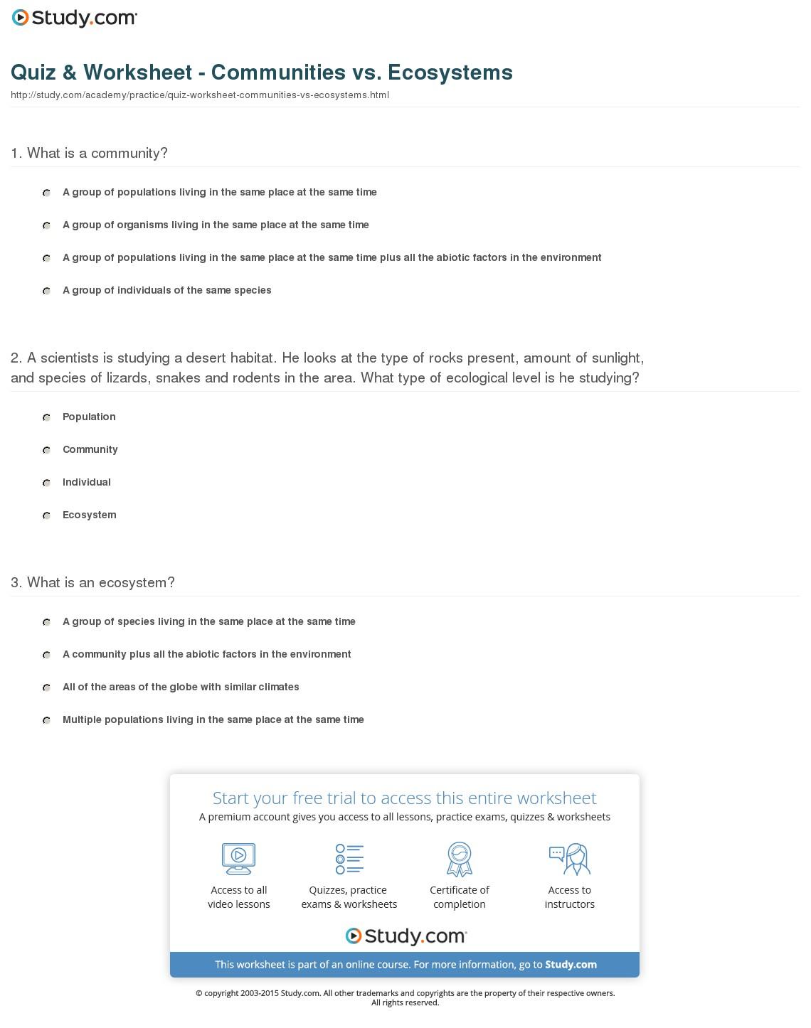 Population Community Ecosystem Worksheets